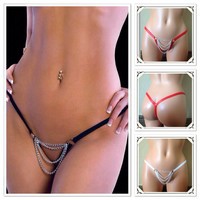 Very Sexy Crotchless Open Crotch G-string, Thong, Panties, Lingerie with Chain Accessory in front. Black ,Red and White.Available in 5 sizes