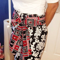 Ladies Black Damask Skirt with USC Gamecock Sash,Black and Garnet Skirt,Black and Garnet outfit,Womans usc skirt,usc sash,garnet black sash