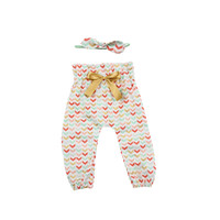 Mint, Gold, Coral Broken Chevron High Waisted Baby Pants | Mint, Gold, Coral Broken Chevron Pants for babies and toddlers