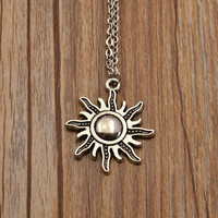 Antique Silver Moon Sun Designer Pendant Necklace (N1734