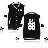 Hot Sale EXO Autumn Long Sleeve College Baseball Jackets KAI 88 Fashion Casual Baseball Jacket Women KPOP Korean 4XL Clothing
