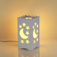 Pandawill® Art Light White Table Light with Moon and Star Shaped Carving, Desk Lamp Night Light for Bedroom, Dorm, Living Room