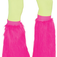Adults Pink Fluffy Leg Warmers