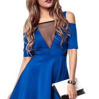 Deep-V Shoulder Cut Out Dress