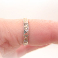 Art Deco Wedding Band, Carved Platinum Eternity Ring, Charles Green & Son, Great Flower and Geometric Design, Circa 1930s