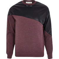 River Island MensDark red leather-look panel sweatshirt