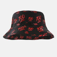 Emoji 100 black bucket hat
