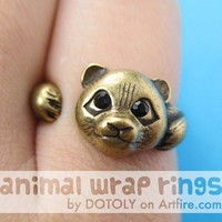 Realistic Panda Animal Wrap Around Hug Ring in Brass Sizes 4 to 8.5