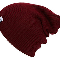 Gossip Girl Soft Ribbed Beanie Slouch Slouchy Knit Hat - Burgundy