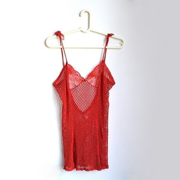 Red Lingerie, Sexy Lingerie, Erotic Lingerie, Babydoll Lingerie, Babydoll Nightie, Fishnet Babydoll, Crochet Lingerie, See Through Nightie