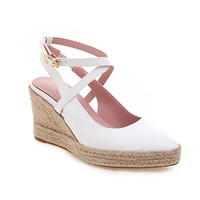 Women's Buckle Belt Pointed Head Wedges Sandals