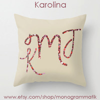 """Monogram Personalized Custom Pillow Cover """"Karolina"""" 16"""" x 16"""" Unique Gift Her Him Couch Bedroom Room Sweet Simple Clean Cream Taupe Floral"""