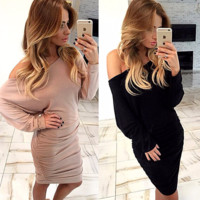 Stylish Over Shoulder Long Sleeve Party Dress