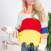 Rainbow Frayed Knit Sweater