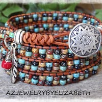 Beaded Wrap Bracelet/ Men's Seed Bead Leather Wrap Bracelet/ Southwestern Bracelet Hand Crafted With Leather And Seed Bead/Seed Bead Jewelry