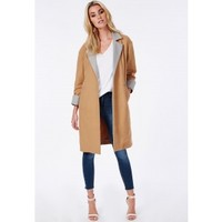 Missguided - Oversized Contrast Lapel & Cuff Duster Coat Camel