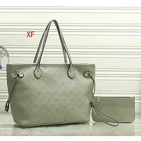 Louis Vuitton LV Women Fashion Leather Handbag Crossbody Satchel Set Two Piece