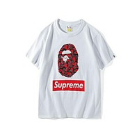 BAPE & SUPREME Joint Camouflage Classic Camouflage Print Logo T shirt F-Great Me Store white/red