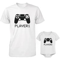 Daddy and Baby Matching White T-Shirt / Bodysuit Combo - Player1 and Player2