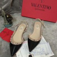 Valentino 2018 new rivet pointed flat shoes single shoes high heels F-OMDP-GD black