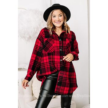 For The Time Being Soft Knit Flannel Top