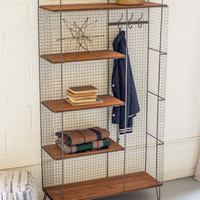 Metal Locker with 5 Honey Wood Shelves