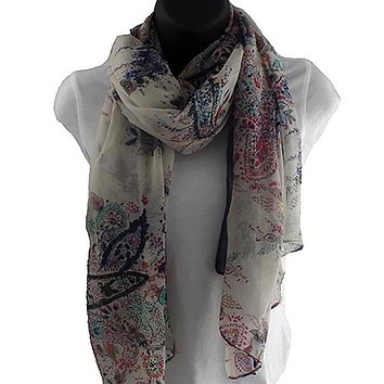 Fields and Gardens Multicolored and Blue Scarf Shawl
