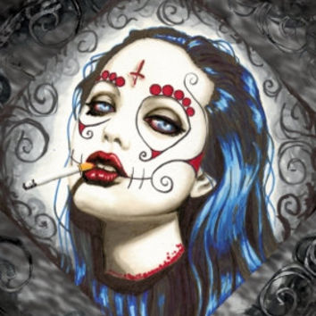 Day of the Dead Angelina Jolie on gallery wrapped canvas