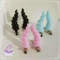 Maleficent-style high horns hair clips gothic pastel goth