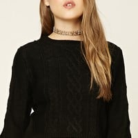 Elbow-Patch Cable-Knit Sweater