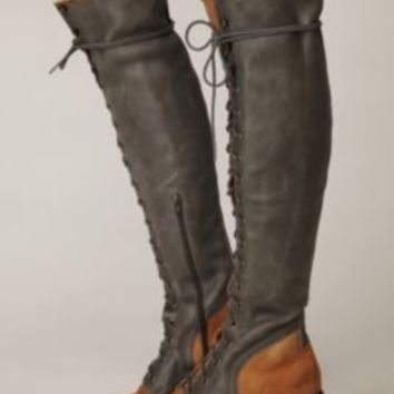 Jeffrey Campbell Joe Lace Up Over the Knee Boot at Free People C- natural and bluelothing Boutique