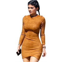 Long Sleeve Slim Kylie Jenner Skin Tight Faux Suede Bodycon Dress