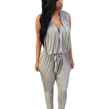 Grey V-neck Jumpsuit With Tie