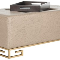 Julian Faux Ostrich Tray Ottoman / Coffee Table Taupe With Gold Legs