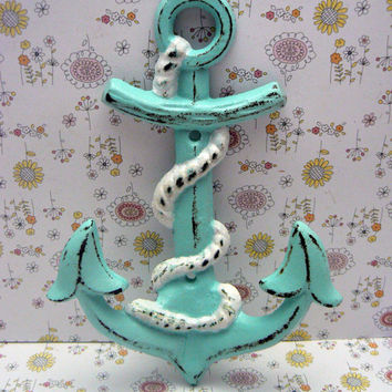 Anchor Hook Nautical Coastal Cast Iron Cottage Chic Beach Blue Wall Decor Lake House Jewelry Coat Keys Key Hat Leash Mudroom Towel Hook