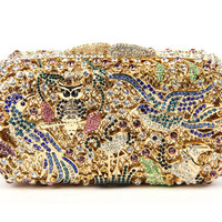 Milanblocks Owl Bird Wedding Rhinestone Metallic Clutch