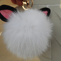 Fashion fur ball handmade keychain, rabbit ear furball bracelet, trend accessories, hot pink,red beige ,white, gray --5colors /gift box