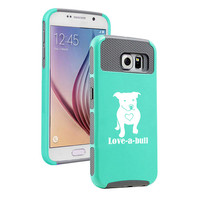 For Samsung Galaxy S5 S6 S7 Edge + Note 5 Shockproof Impact Dual Layer Hard Cover Soft Silicone Rubber Inside Case Love-a-bull Pitbull Love