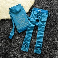 Juicy Couture Fw2017 Velour Tracksuit 2pcs Rose Embroidery Women Suits Navy Blue