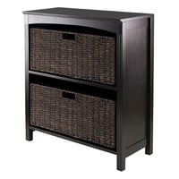 Winsome Wood 92382 Terrace Storage Three-Tier Shelf with Two Large Baskets, Three Piece