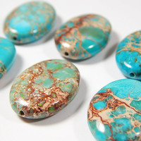 6 Pcs - 26x18x6mm Blue Green Sea Sediment Jasper Button Beads - Natural Gemstone Beads - Focal Beads - Jewelry Supplies