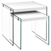 Nesting Table - 2Pcs Set / Glossy White / Tempered Glass