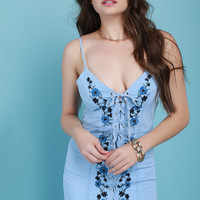 Floral Vine Embroidered Corset Lace Chambray Dress | UrbanOG