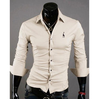 Long Sleeved Casual or Formal Business Men's Embroidered Shirt