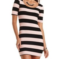 Black Combo Short Sleeve Striped Bodycon Dress by Charlotte Russe