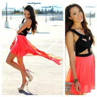 The Cut Out Dress in Neon Orange   shopLUVB.com