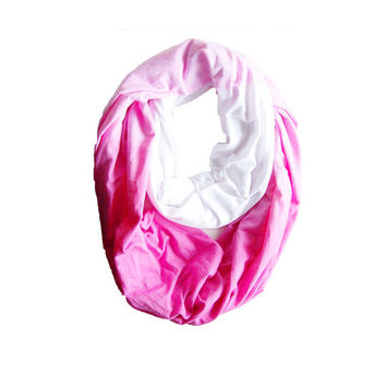 Pink Ombre Infinity Scarf,  Hand Dyed Cotton Jersey Scarf, ombre scarf