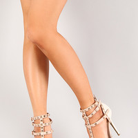 Wild Diva Lounge Adora-55 Two Tone Studded Pointy Toe Pump