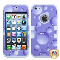 MYBAT IPHONE5HPCTUFFIM034NP Premium TUFF Case for iPhone 5 - 1 Pack - Retail Packaging - Purple Bigger Bubbles/Solid White