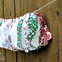 Christmas rag garland, rustic christmas, white, candy canes, snowmen, christmas mantle decoration, winter photo prop, swag, shabby chic
